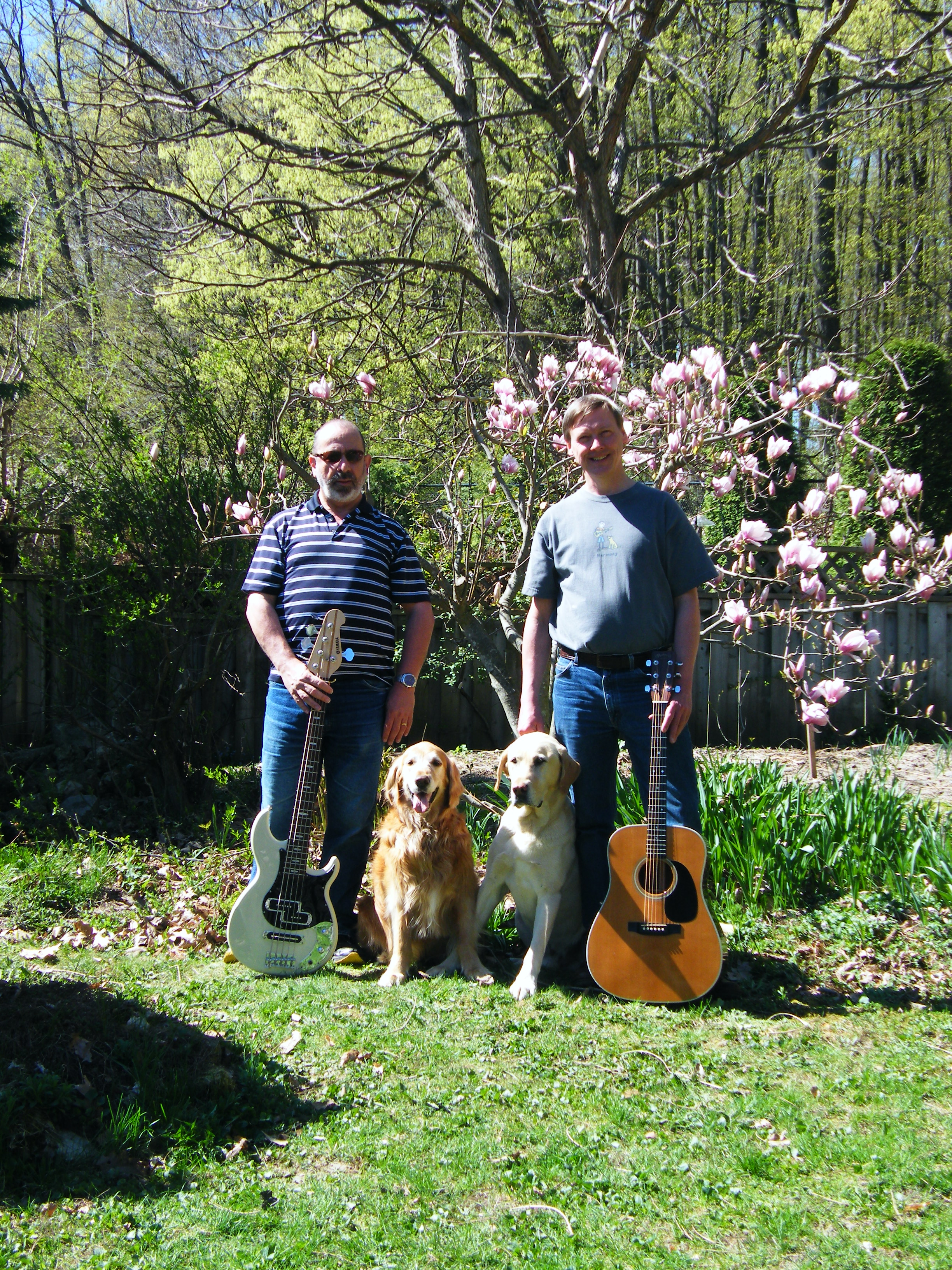 Peter and Eric with dogs and guitars in backyard